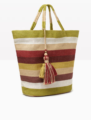Jute shopper bag with tassels