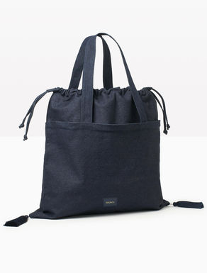 Denim shopper bag with tassels