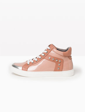 High-top glossy sneakers