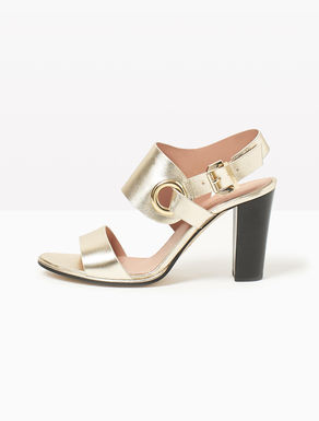 Leather sandals with maxi eyelet