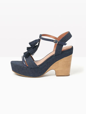 Denim sandals with tassels