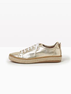 Sneakers de piel laminada y cuerda