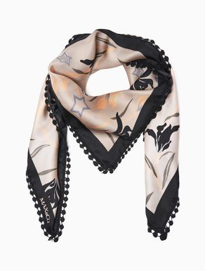 Printed silk twill scarf