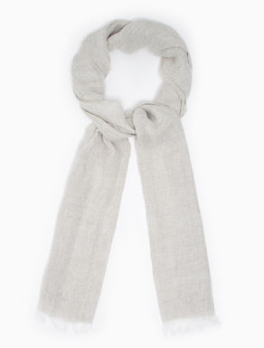 Linen scarf with drawn-thread texture
