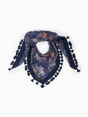 Silk scarf with tassels
