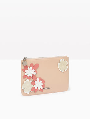 Leather pouch with flower appliqués
