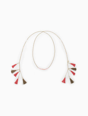 Open chain necklace with tassels