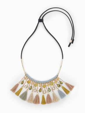 Plastron necklace with tassels