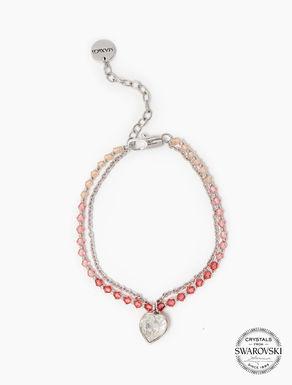 Bracelet à cristaux et breloque cœur
