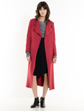 Light wool fabric trench coat