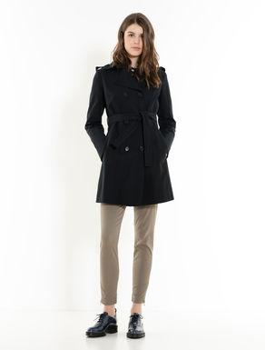 Trench-coat slim en coton et nylon