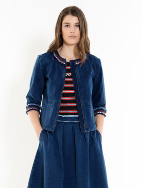 Stretch denim boxy jacket