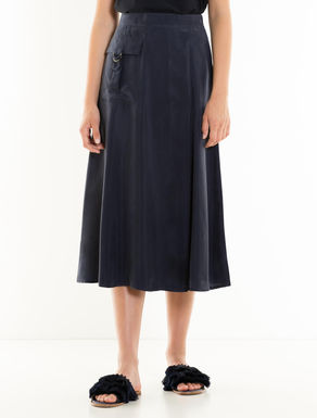 Fluid fabric midi skirt