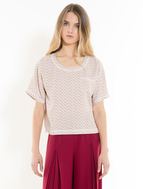 Sablé fabric blouse with bow