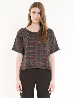 Sablé fabric blouse with bow