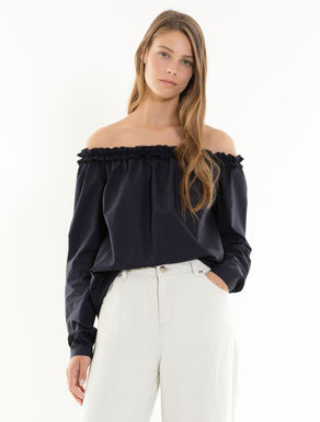 Poplin blouse with ruching
