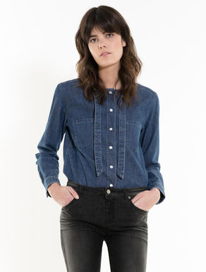 Denim shirt with bow