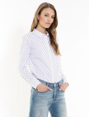 Slim-Bluse aus elastischem Popeline
