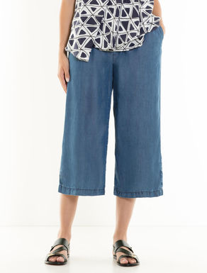 Fluid-effect denim culotte trousers