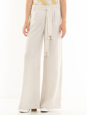 Linen trousers with crochet details