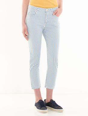 Cropped slim-fit striped jeans
