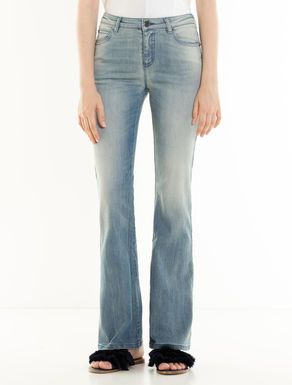 Boot-cut stone-washed jeans