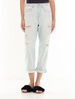 Stone bleached boyfriend-fit jeans