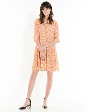 クレープ生地のシャツドレス