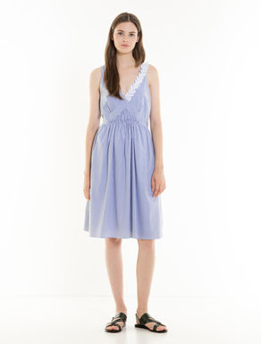 Poplin dress with ruching