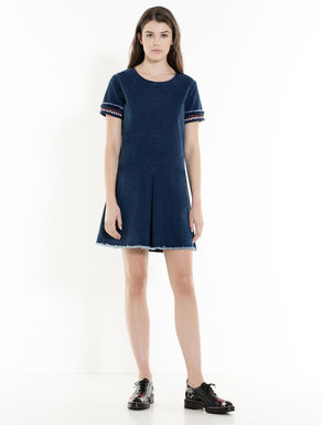 Stretch denim A-line dress