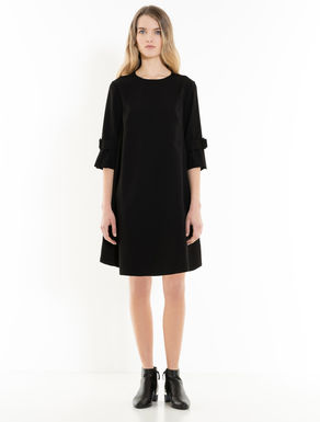 Shift dress with pleated flounce