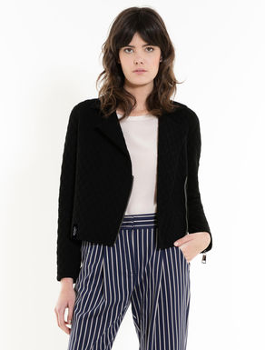 Padded knit biker jacket