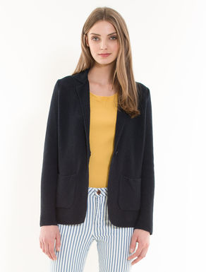 Rice stitch knit blazer