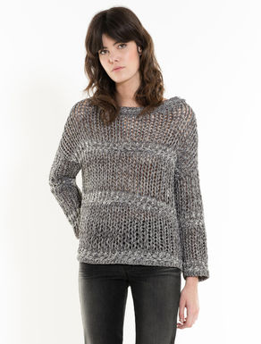 Mesh knit jumper with fancy yarn