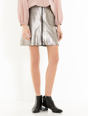 A-line skirt in laminated leather