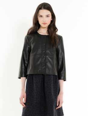 Nappa jacket with flounce