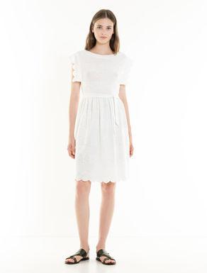 Linen jersey eyelet dress