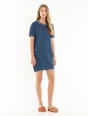 Denim-effect fleece dress