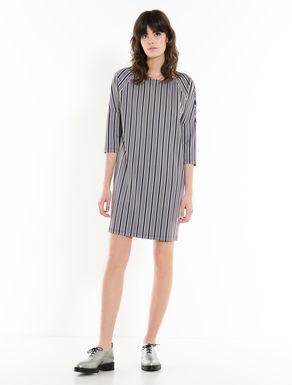 Striped jacquard jersey dress