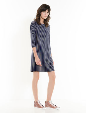 Pinstripe jacquard jersey dress