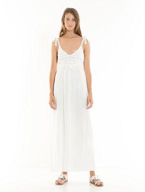 かぎ針編みコットンとメッシュのドレス