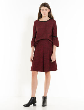Tweed jersey blouse and skirt