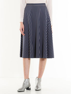 Pinstripe jacquard jersey skirt