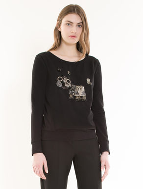 Sweatshirt with jewel embroidery