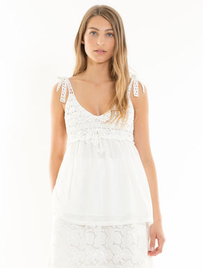 Crocheted cotton and mesh top