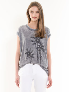 Sequinned faded T-shirt