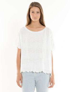 Linen jersey eyelet T-shirt