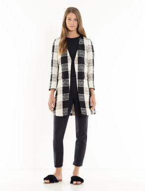 Check woven overcoat