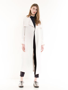 Maxi trench coat in fluid fabric