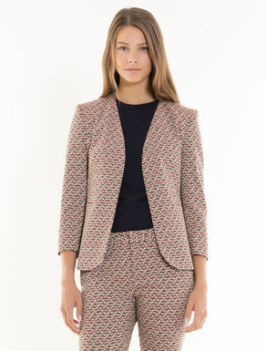 Slim geometric jacquard blazer